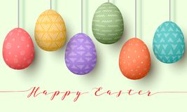 Pending easter multicolored eggs . Happy Easter. Easter hanging eggs with different simple ornaments. Illustration. Postcard template, decoration, label, tag Royalty Free Stock Photo