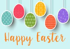Pending easter multicolored flat eggs isolated. Happy Easter. Easter hanging eggs with different simple. Ornaments.  illustration. Postcard template, decoration Royalty Free Stock Photo