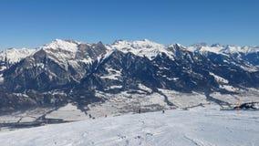 Pendio del paesaggio e dello sci di inverno dell'area Pizol dello sci Fotografia Stock Libera da Diritti