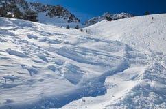 Pendio della neve nell'inverno Pirenei Immagini Stock Libere da Diritti