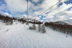 Pendio dello sci in Madesimo, Italia Fotografie Stock