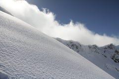 Pendio dello sci nella neve della polvere, paesaggio della montagna Immagine Stock