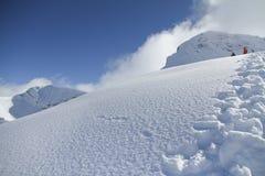 Pendio dello sci nella neve della polvere, paesaggio della montagna Fotografia Stock Libera da Diritti