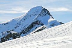 Pendio dello sci nelle alpi austriache Fotografie Stock