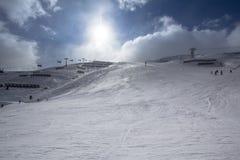 Pendio di Beatifull nelle alpi Fotografie Stock