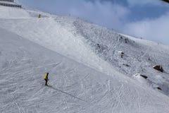 Pendio di Beatifull nelle alpi Fotografie Stock Libere da Diritti
