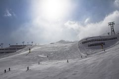 Pendio di Beatifull nelle alpi Fotografia Stock Libera da Diritti