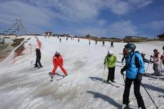 Pendio di corsa con gli sci nel ricorso di Bukovel, Ucraina Fotografia Stock Libera da Diritti