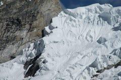 Pendio di montagna pericoloso del ghiacciaio Fotografie Stock Libere da Diritti