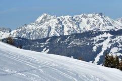 Pendio fuori-pista nelle alpi Fotografia Stock