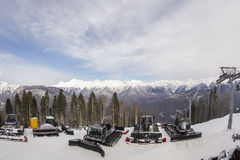Pendio sulla località di soggiorno di corsa con gli sci, Immagini Stock Libere da Diritti