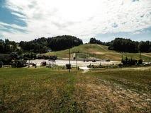 Pendio in Wiezyca, regione casciubica, Polonia dello sci immagine stock libera da diritti