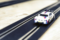 Pendle slot racing. Blurry toy car Royalty Free Stock Photography