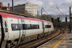 Pendolino electric train arriving Preston station Royalty Free Stock Images