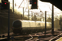 Pendolino electric train in evening light on WCML Stock Photo