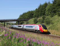 Pendolino electric train on West Coast mainline. Stock Photos