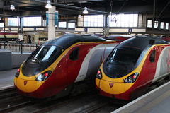 Pendolino electric trains at London Euston station. Driving cabs of two Virgin Pendolino electric multiple unit trains at the buffers in London Euston train Stock Photo