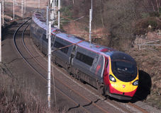 Pendolino train descending Shap towards Tebay. Royalty Free Stock Photo