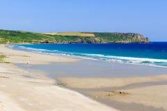 Pendower海滩康沃尔郡英国 免版税图库摄影