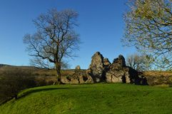 Pendragon Castle ruins in the Eden Valley, Yorkshire Dales National Park near Outhgill Cumbria. Pendragon Castle is reputed to have been founded by Uther stock photo