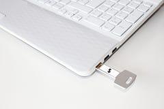 Pendrive和一台膝上型计算机有美元的符号的 免版税库存照片