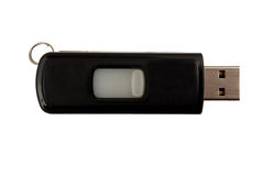 Pendrive. Simple black pen drive isolated Stock Photos