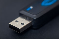 Pendrive. Detail of pendrive in black background Stock Photo