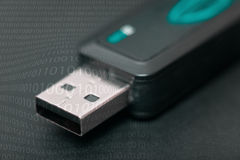 Pendrive. Detail of pendrive in black background Stock Photos