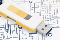 Pendrive and document Royalty Free Stock Photos