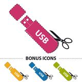 Pendrive USB Stick Symbol With Scissor And Cut Line - Colorful Vector Illustration And Bonus Icons - Isolated On White Stock Images