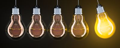 Pendule des ampoules sur le contexte foncé, rendu 3D illustration de vecteur