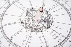 Pendule en cristal avec la roue de zodiaque Photographie stock