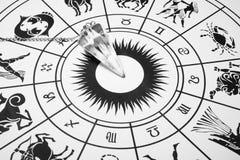 Pendule en cristal avec la roue de zodiaque images libres de droits