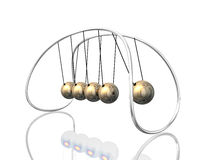 Pendulum 3D. 3d illustration looks newton`s pendulum in golden colors Royalty Free Stock Photography