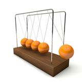 The pendulum in 3D. A pendulum swings with five balls in time with the music. The central spheres stop there Stock Photography