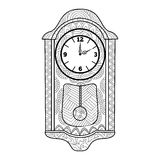 Pendulum clock coloring book for adults vector Stock Image