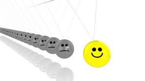 Pendulum with countless grey smiley spheres. And one yellow happy face Royalty Free Stock Image