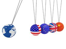 Pendulum of 3D spheres with the flag and globe. Symbolizes the impact of the global economy on the country Royalty Free Stock Photo