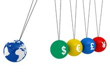 Pendulum of 3D spheres with globe and the currency. Symbolizes the impact of the global economy to changes in exchange rates Royalty Free Stock Photo