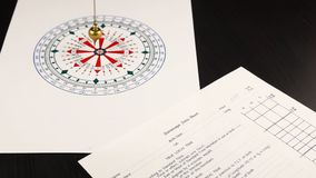 Pendulum for divination. Astrologer use pendulum for tarot and a astrological circle for divination next to horoscope data sheet form stock footage