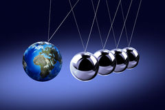 The pendulum of Newton as the Earth Stock Image