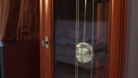 The pendulum of the old antique clock, Old wooden clock, antique clock. Old Time and Time Concept. The pendulum of the old antique clock, swinging from side to stock video footage