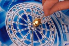 Pendulum with zodiac. A gold pendulum in a female hand above a blue astrological wheel stock photo