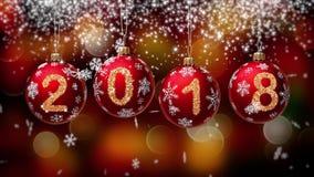 Pendurando 2018 bolas do Natal do brilho do número no fundo do bokeh do ouro 4K ilustração royalty free