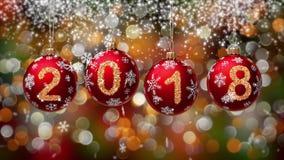 Pendurando 2018 bolas do Natal do brilho do número no fundo do bokeh do ouro 4K ilustração do vetor