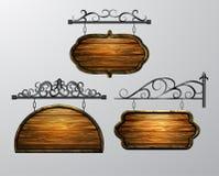 Pendurando, vetor da placa de madeira, objeto de madeira para o texto ilustração stock