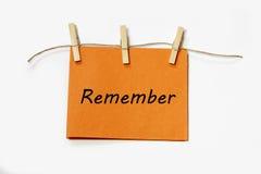 Pendurar recorda a nota Foto de Stock Royalty Free
