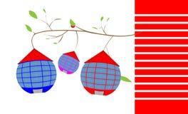 Pendure em casas redondas de um ramo com um telhado telhado Ilustração Royalty Free