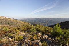 Peneda-Geres Landscapes. View of the rocky granite boulders on top of the Peneda-Geres Mountain, Northern Portugal stock photo