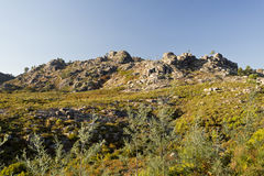 Peneda-Geres Landscapes. View of the rocky granite boulders on top of the Peneda-Geres Mountain, Northern Portugal royalty free stock photo
